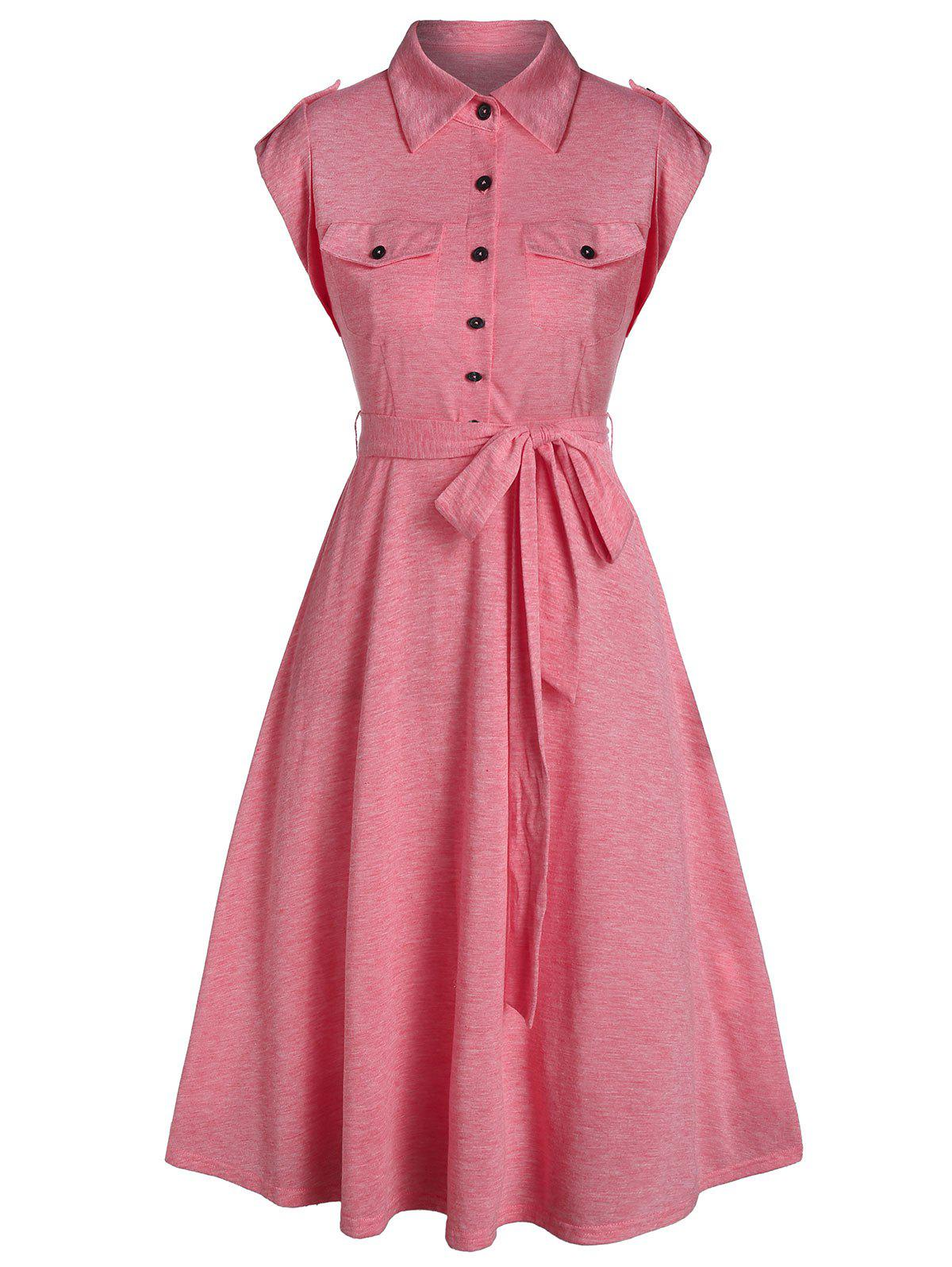 Half Button Double Pocket Belted Flare Dress - PINK M