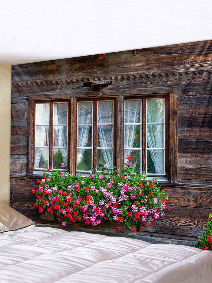 Retro Wooden Window Flowers Print Tapestry Wall Hanging Art Decoration - multicolor W59 X L59 INCH