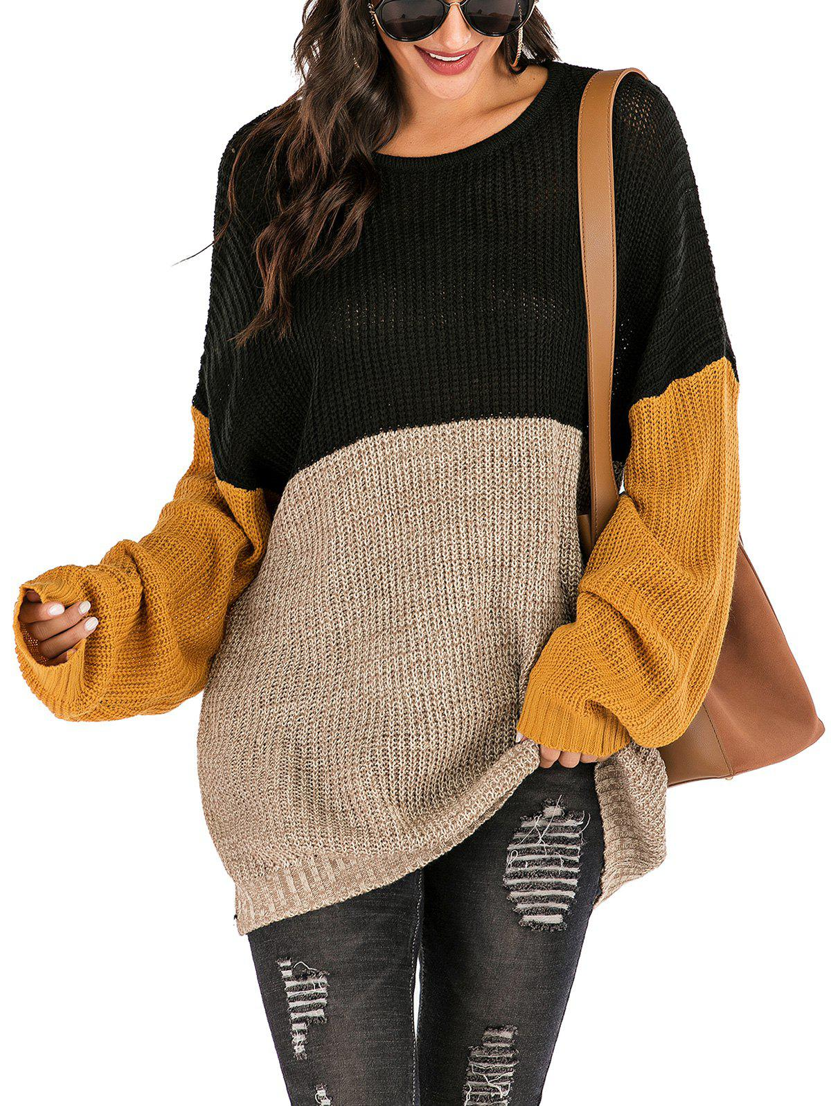 Colorblock Heathered Oversized Tunic Sweater - BLACK S