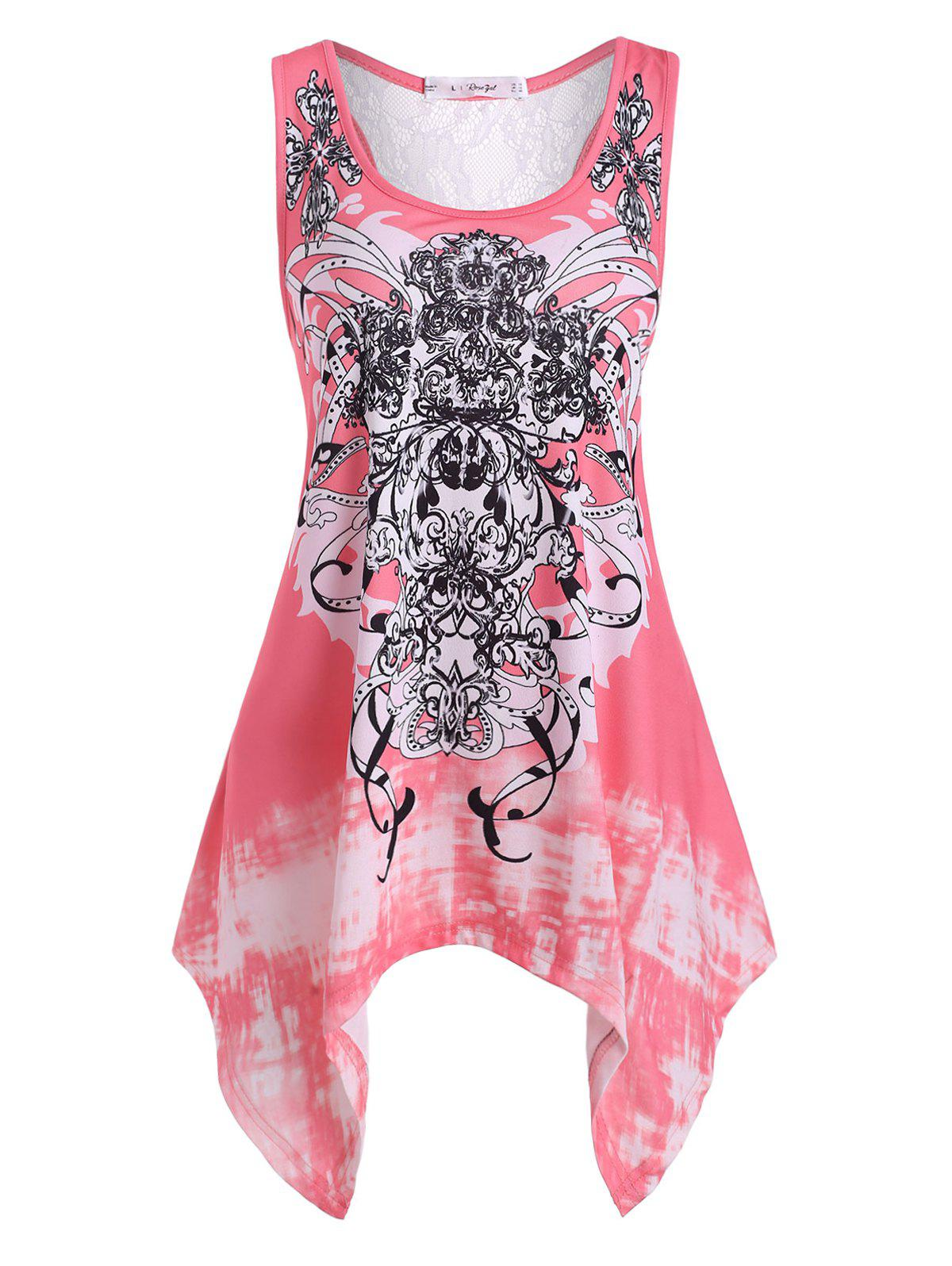 Plus Size Handkerchief Tribal Print Tank Top - PINK L
