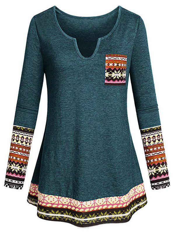 Plus Size Tribal Print Pocket T Shirt - MEDIUM SEA GREEN 1X