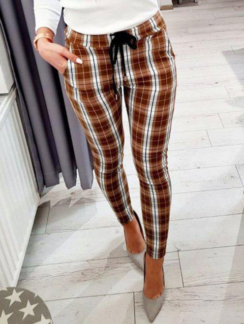 Plaid Pocket Drawstring Pencil Pants