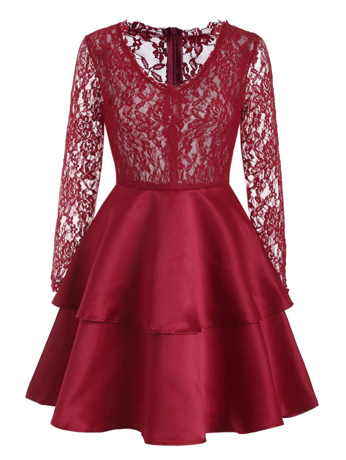 Lace Panel V Neck Layered Dress - RED WINE L