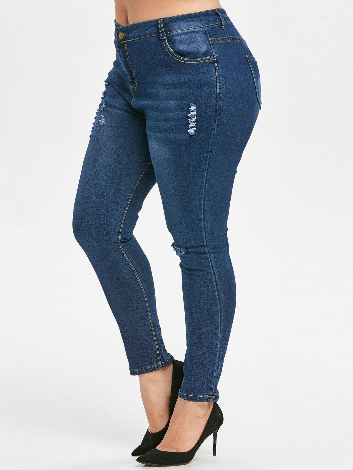 Dark Wash Ripped Taille Plus Skinny Jeans - Bleu 3X