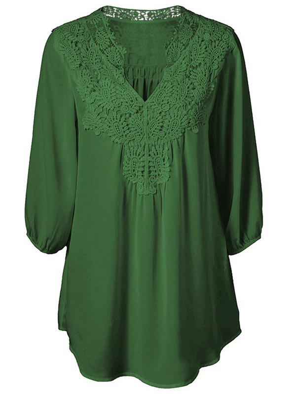 Lace Applique Plus Size Chiffon Blouse - SEAWEED GREEN L