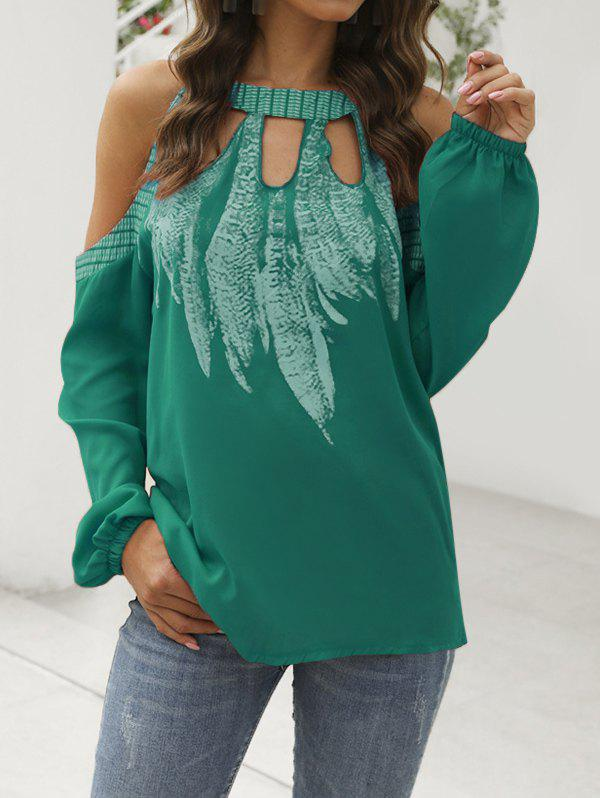 Feather Cold Shoulder Keyhole Blouse - DARK TURQUOISE 2XL