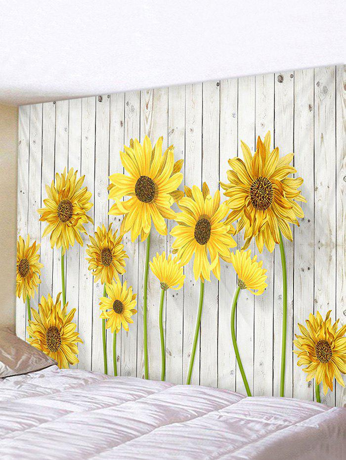 Sunflower Wooden Print Tapestry - multicolor W59 X L51 INCH