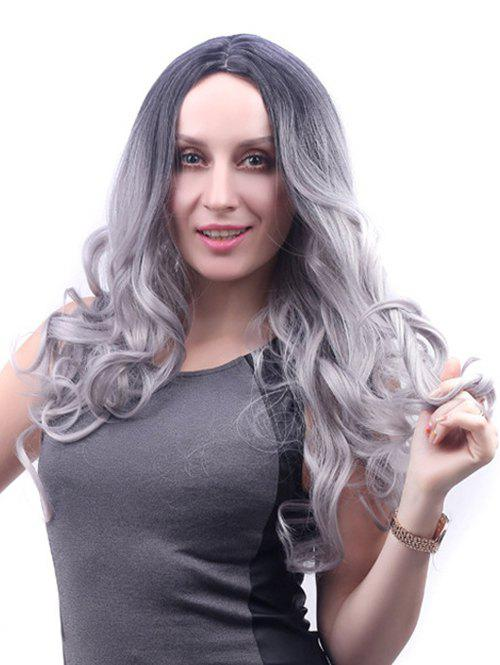 Center Part Long Ombre Body Wave Synthetic Wig - PLATINUM