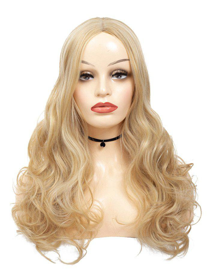 Long Wavy Center Part Synthetic Wig - CAMEL BROWN