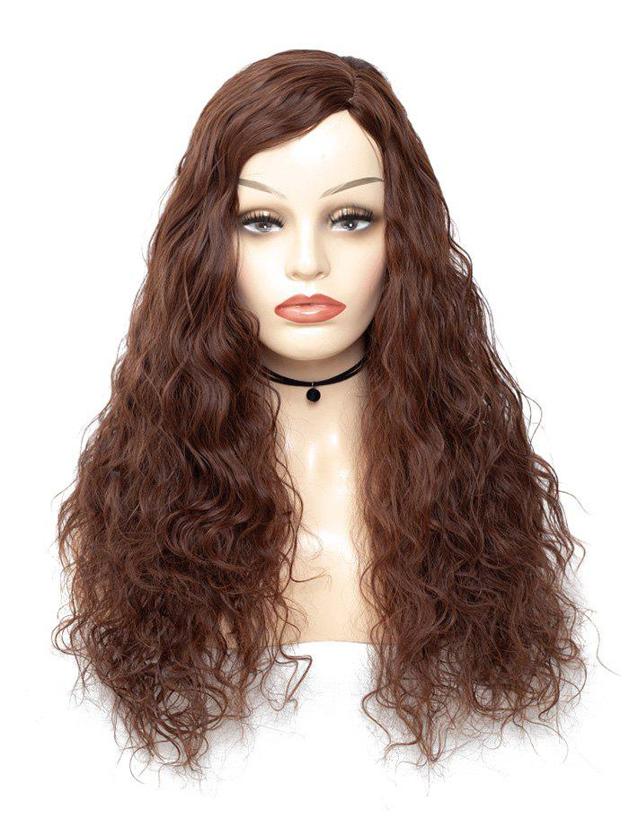 Side Part Long Slight Wave Synthetic Wig - COFFEE