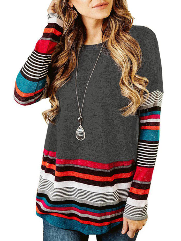 Striped Long Sleeve Drop Shoulder T-shirt - GRAY M