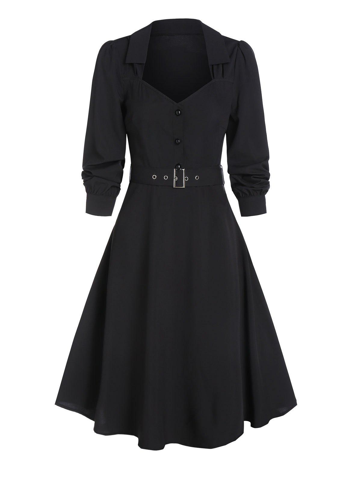 Half Button Belted Vintage Flare Dress - BLACK L