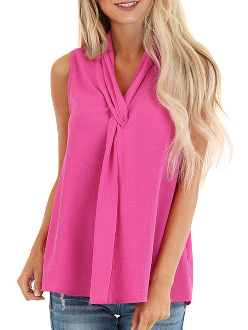 Twist V Neck Sleeveless Blouse - DEEP PINK L