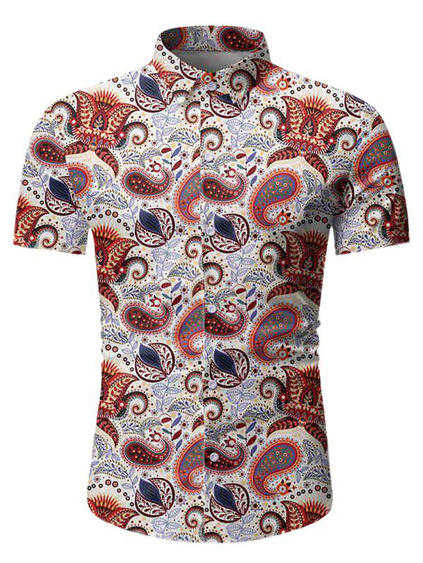 Paisley Leaf Pattern Short Sleeves Shirt - WHITE L