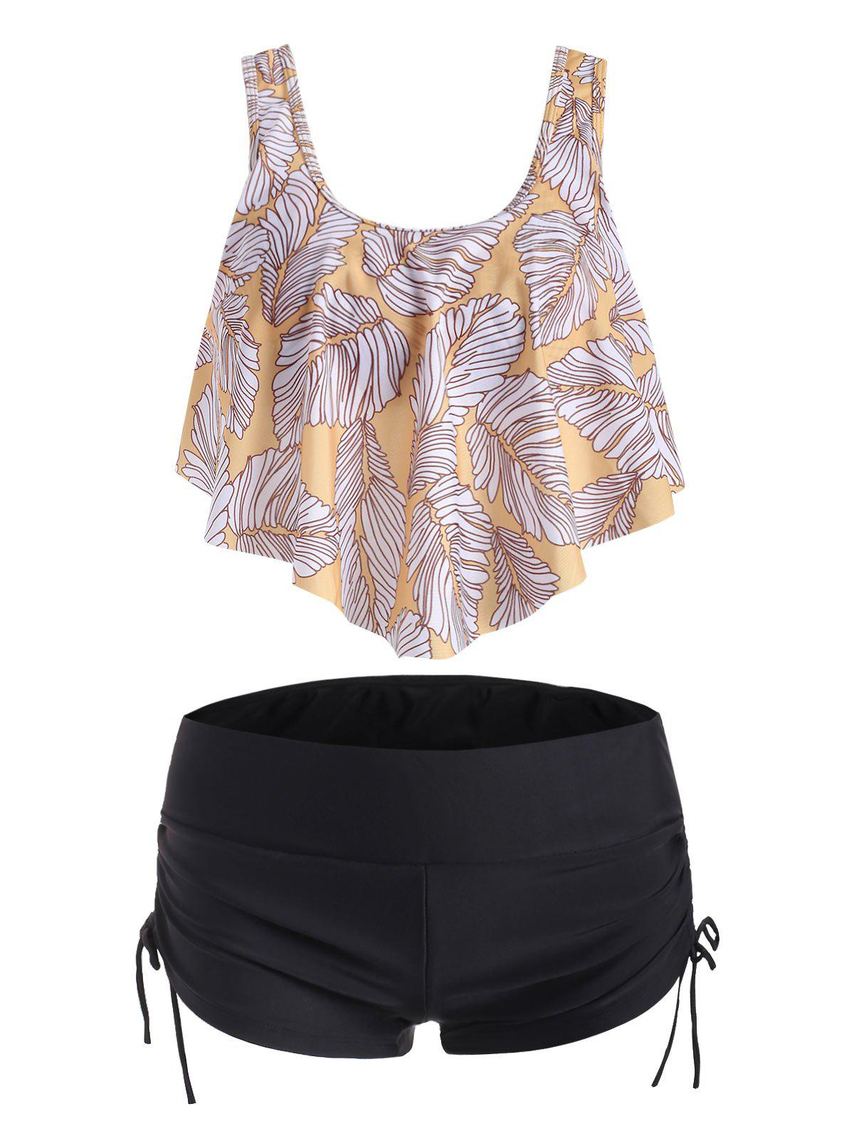 Overlay Flounces Cinched Leaves Print Tankini Swimsuit - GOLDENROD L