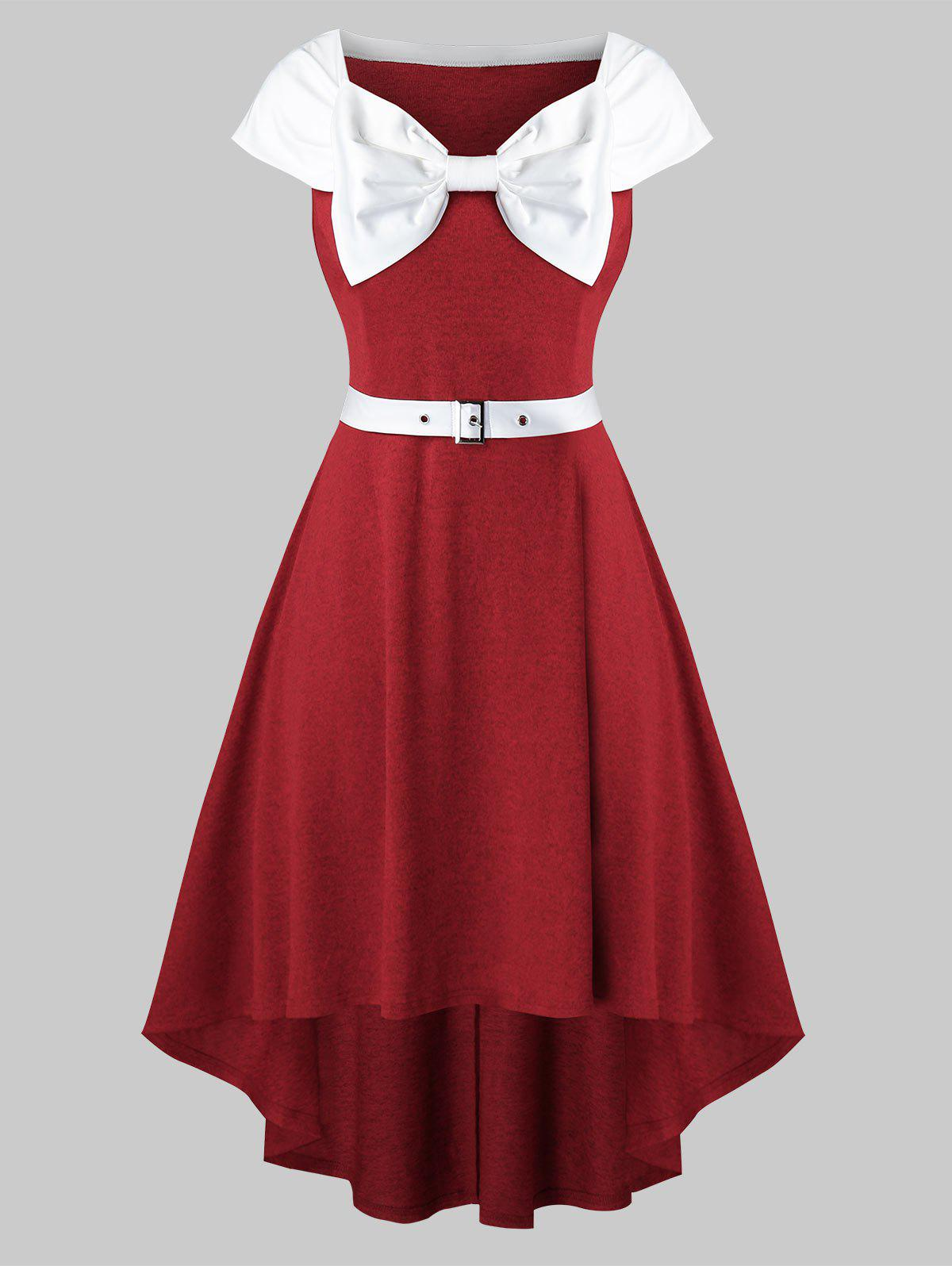 Plus Size Bowknot Collar A Line Dress - RED WINE 4X
