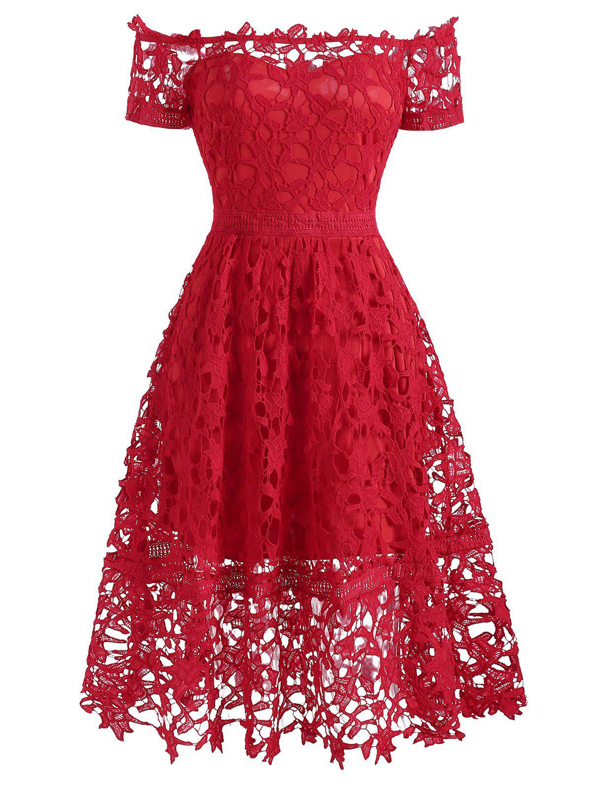 Off Shoulder Lace Party Dress - RED M