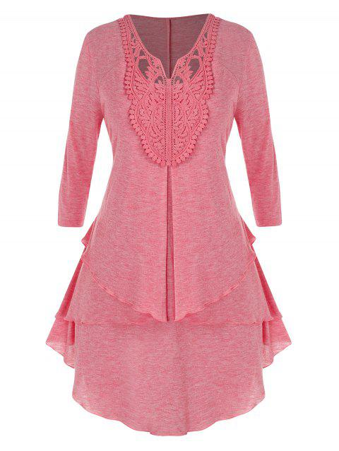 Plus Size Hollow Out Lace Tiered Tunic Top
