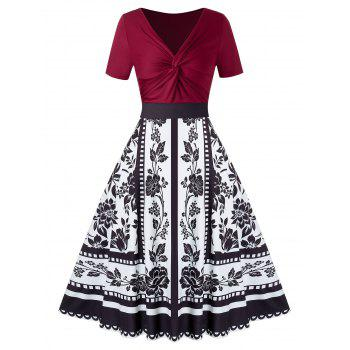 Plus Size Knot Splicing Floral Printed Dress