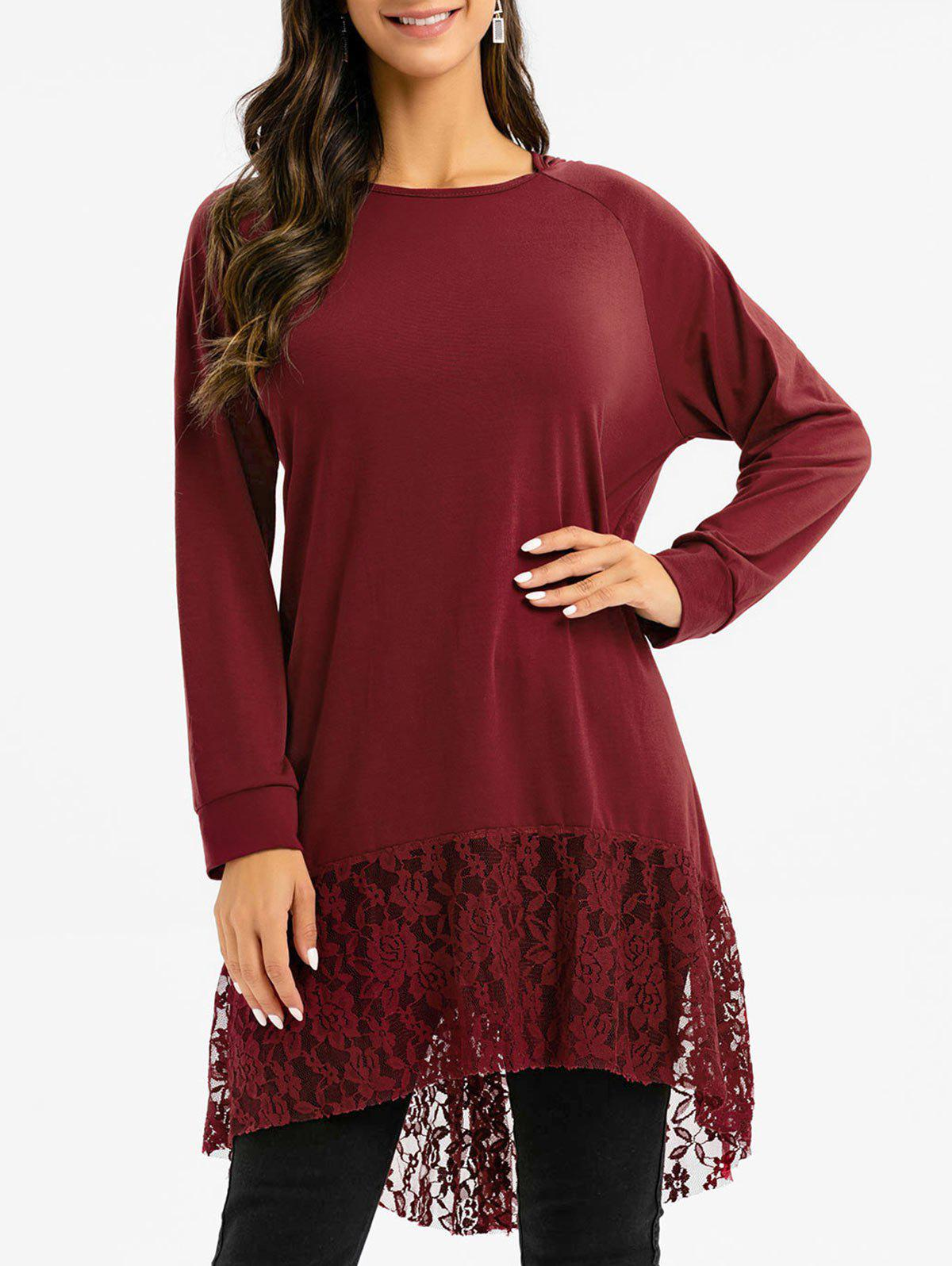 Floral Lace Panel High Low Hooded Top - RED WINE L