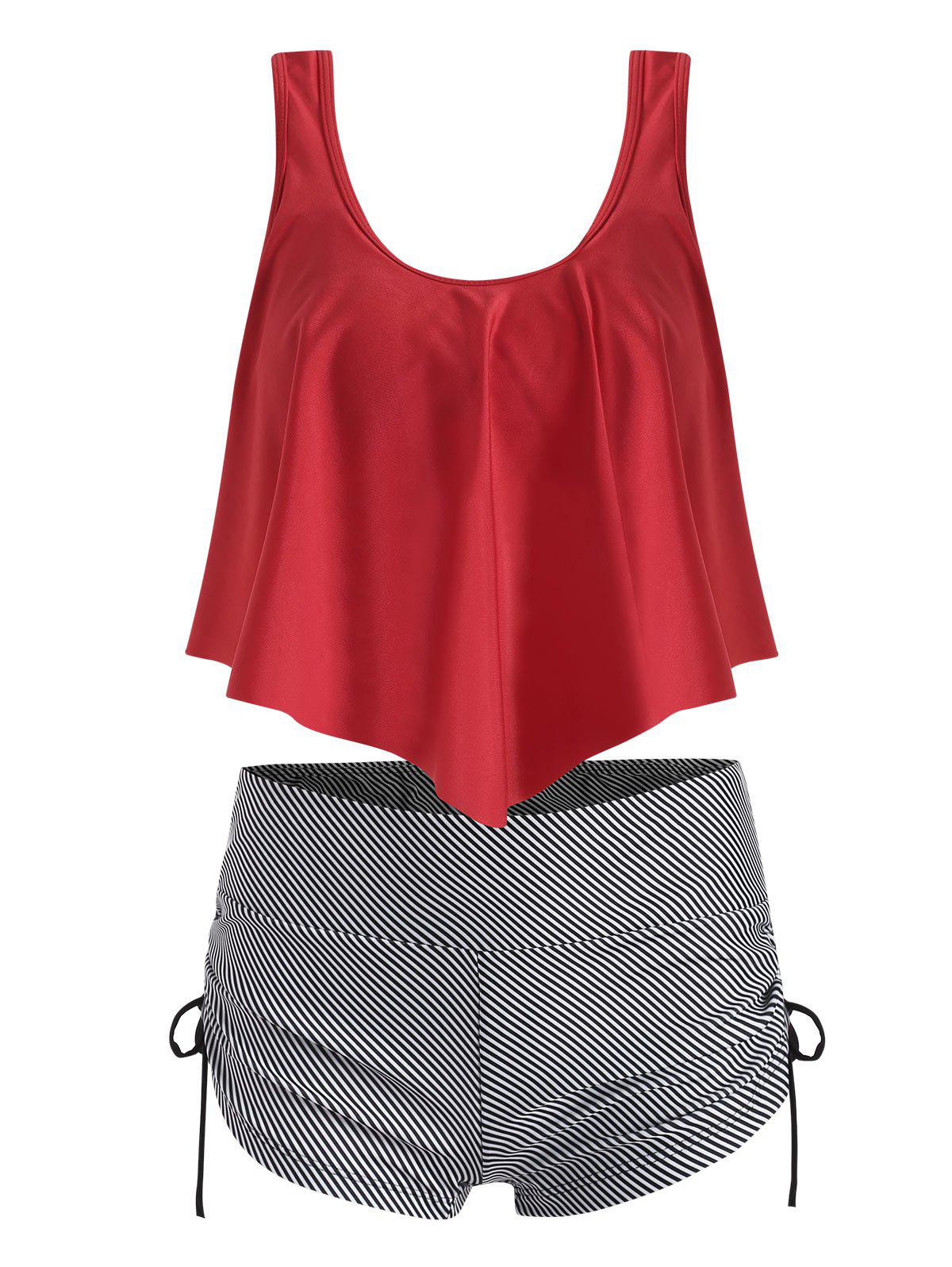 Flounce Overlay Striped Cinched Tankini Swimwear - RED M