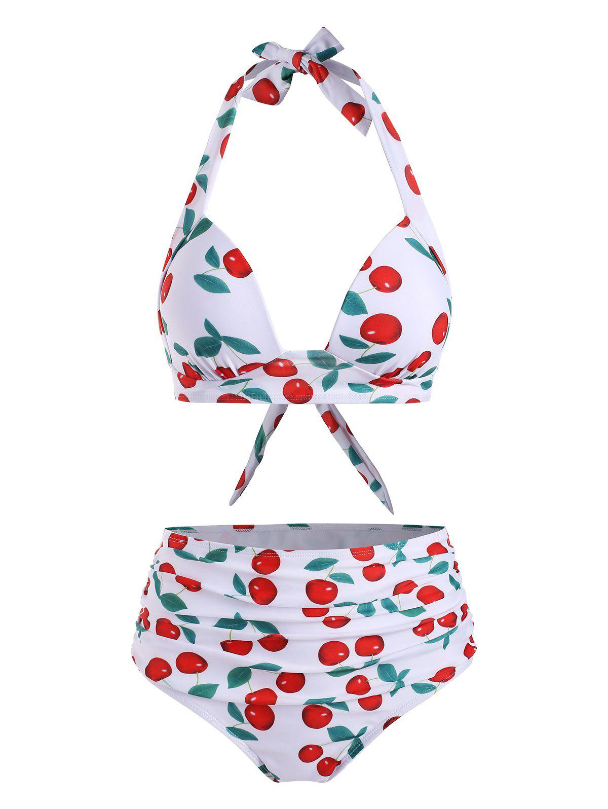 Cherry Print High Waisted Ruched Bikini Swimsuit - WHITE L