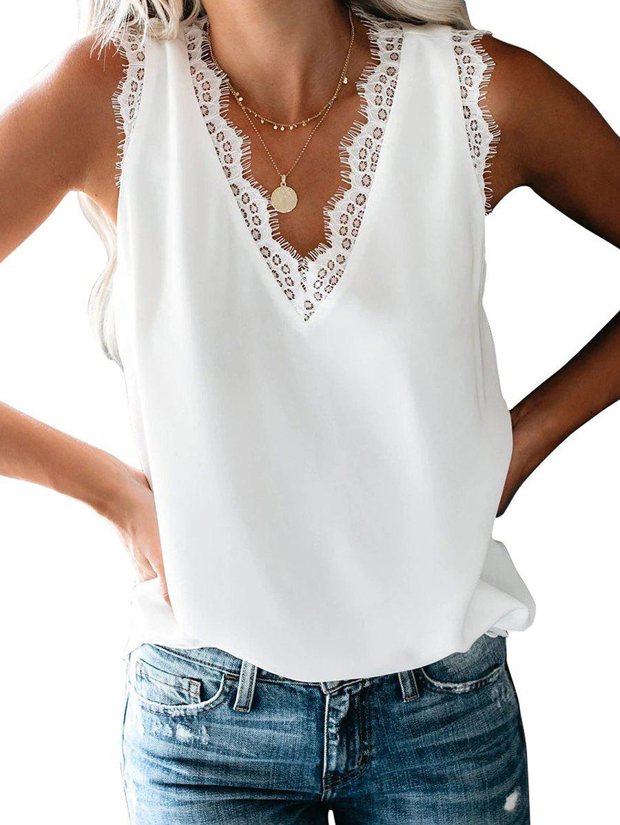 Eyelash Lace Plunging Tank Top - WHITE 2XL