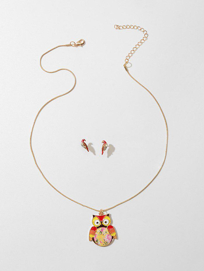 Rhinestone Owl Necklace with Parrot Earrings - TIGER ORANGE