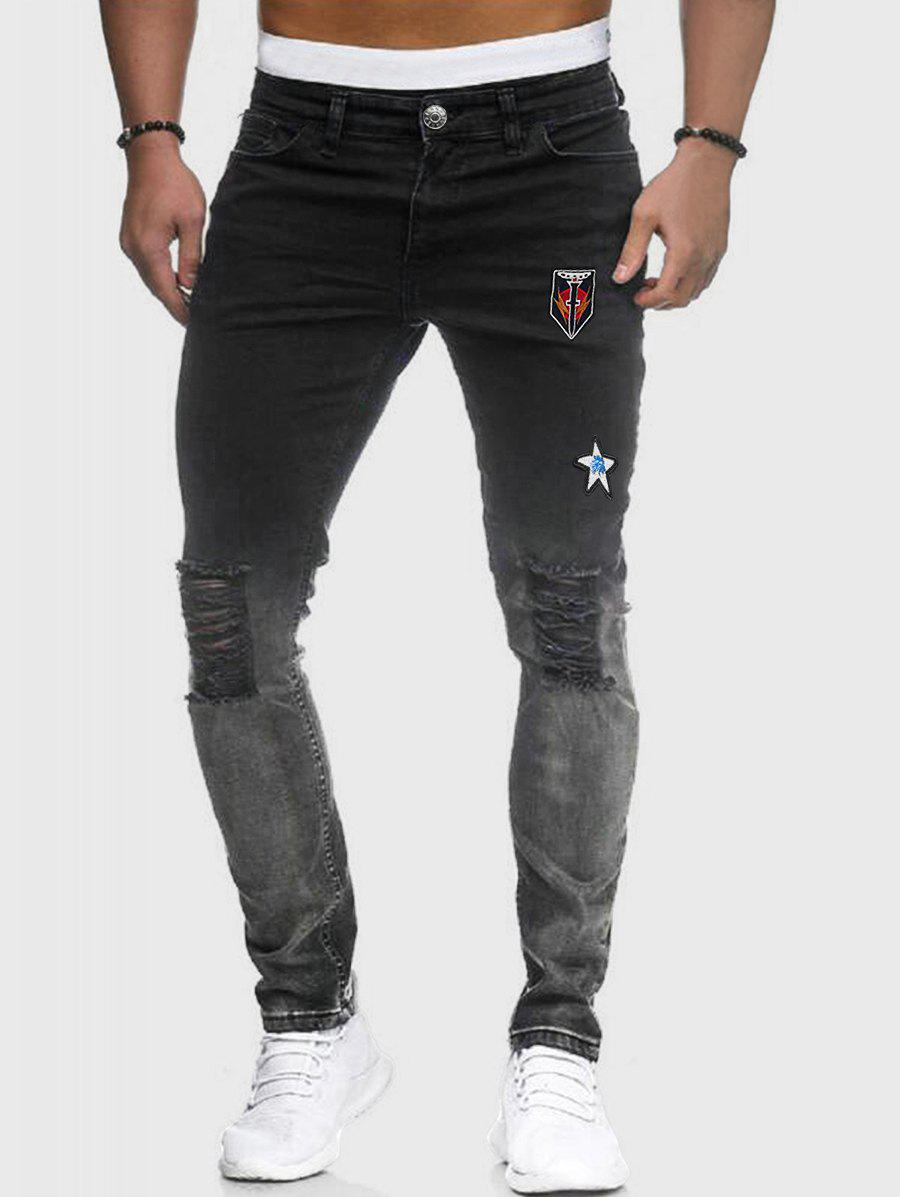 Embroidery Design Ripped Zip Fly Jeans - BLACK XL