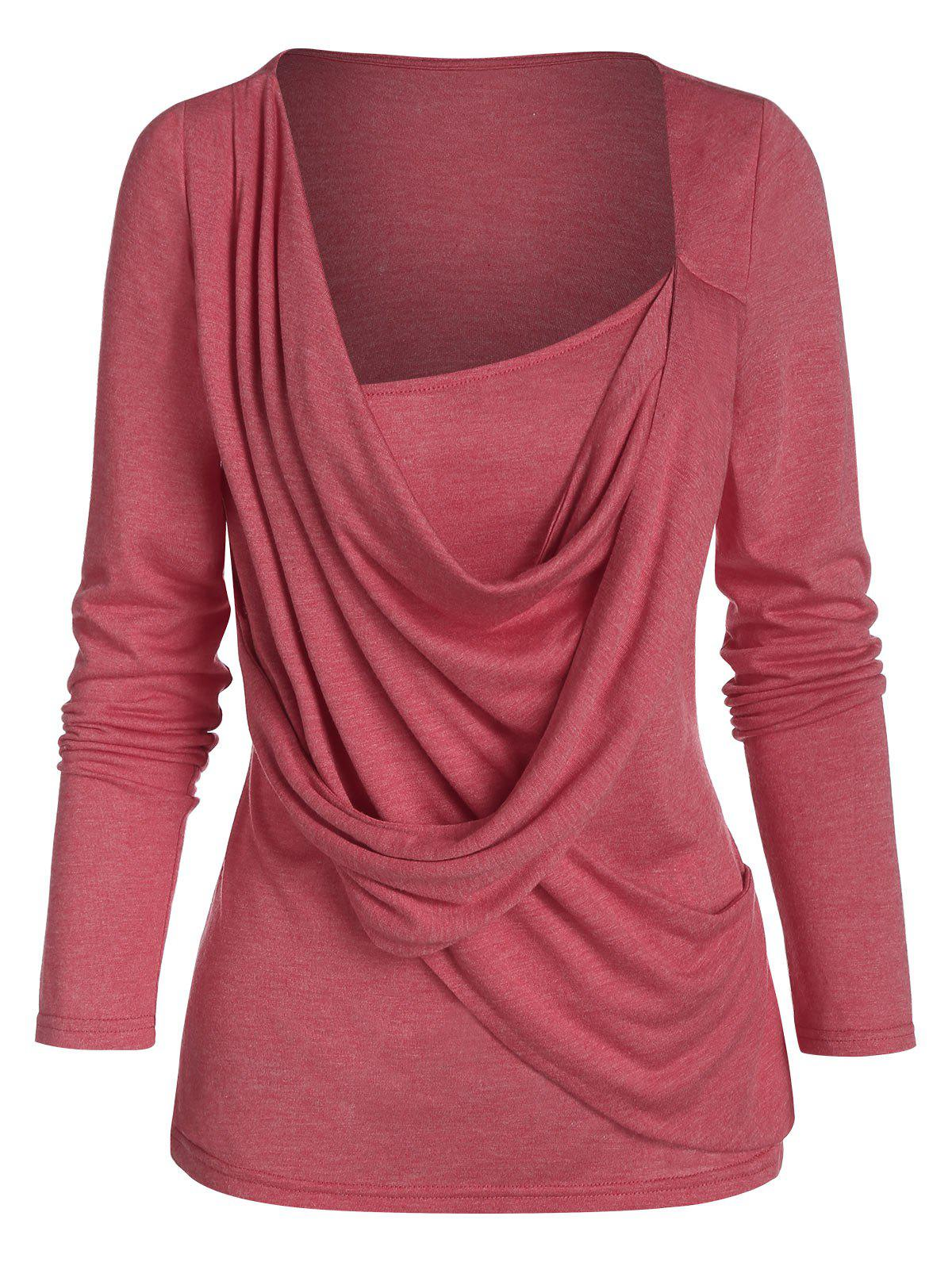 Drape Front Long Sleeve Casual T Shirt - RED L