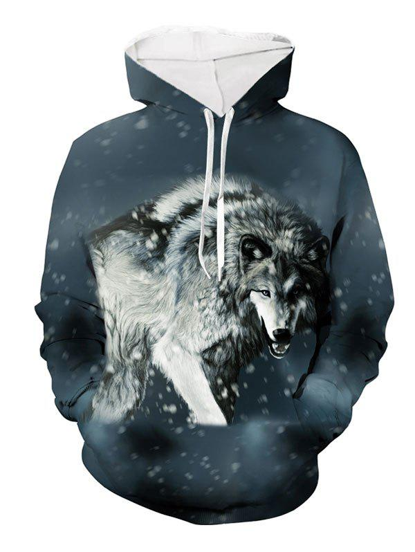 Wolf Snow Pattern Pocket Hoodie - DARK SLATE BLUE XL