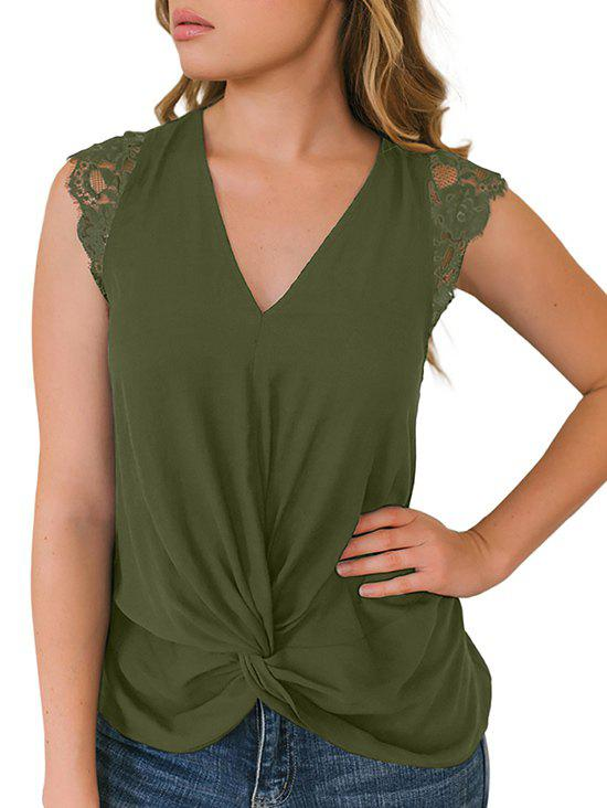 Lace Insert Plunging Twisted Tank Top - FERN GREEN L
