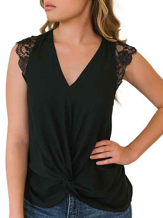 Lace Insert Plunging Twisted Tank Top - BLACK 2XL
