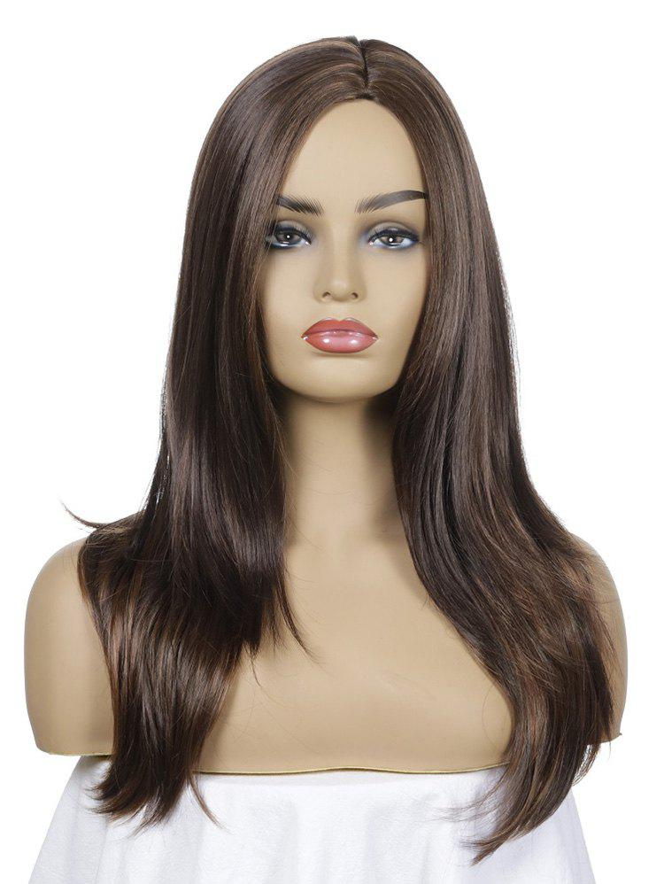 Synthetic Long Side Part Straight Wig - DEEP BROWN