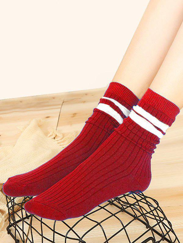 Winter Sports Striped Cotton Quarter Socks - RED WINE