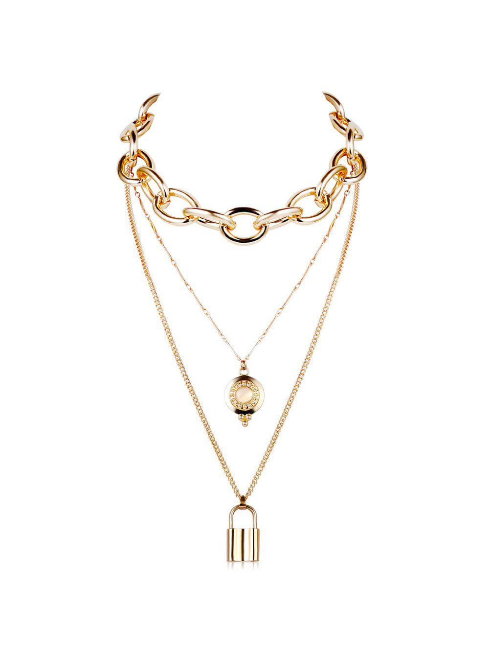 Punk Key Lock Pendant Multilayered Chain Necklace - GOLD