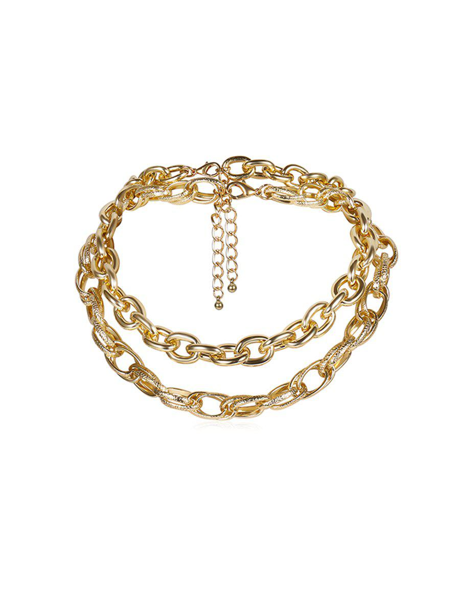 Collier Chaîne Double Couches Style Rue - Or