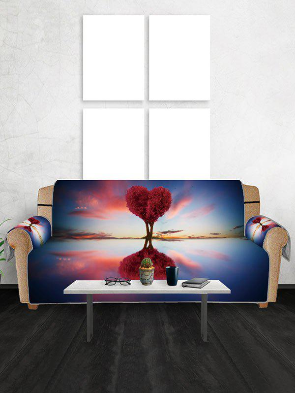 Valentines Day Heart Tree Patterned Couch Cover - BLUEBERRY BLUE TWO SEATS