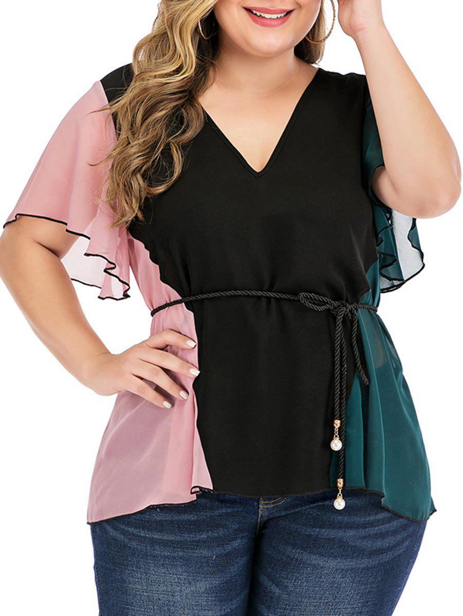 Plus Size Colorblock Chiffon Blouse - BLACK 1X