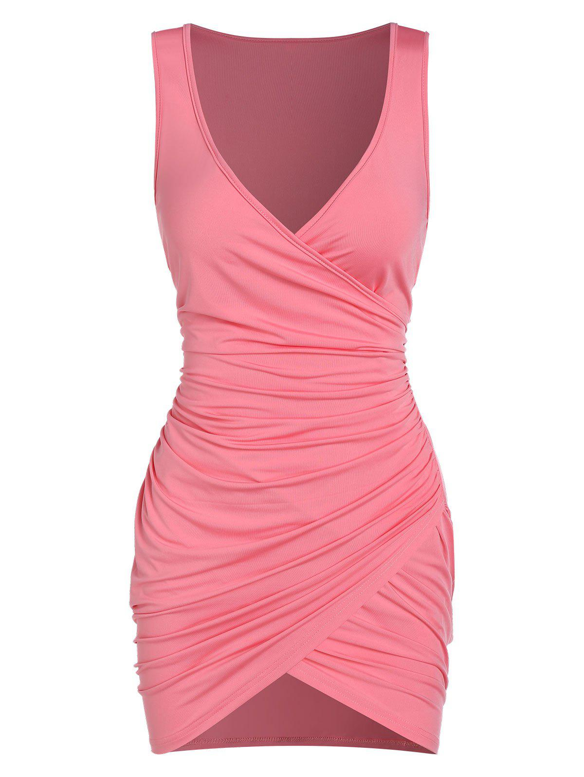 Sleeveless Ruched Surplice Sheath Dress - PINK L
