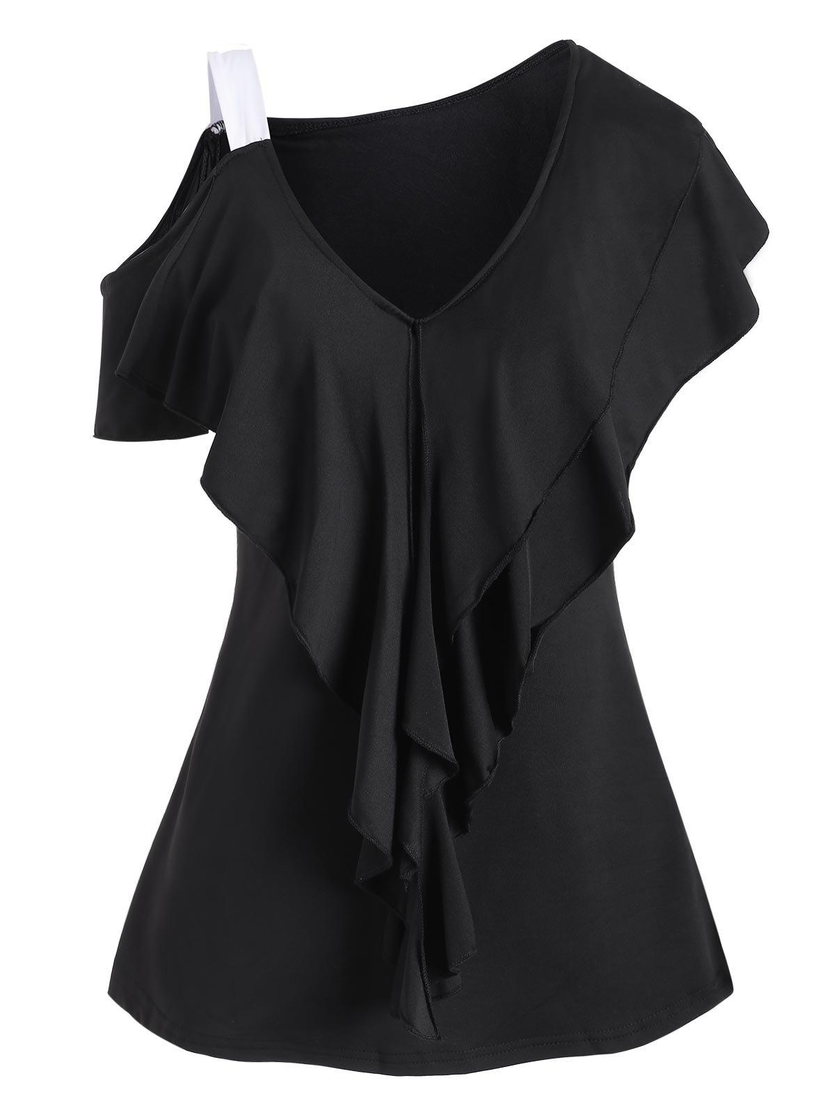 V Neck Cold Shoulder Layered Ruffles Top - BLACK XL