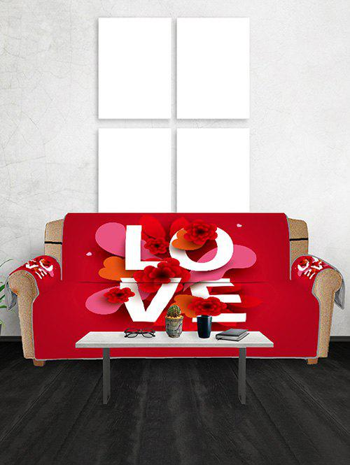 Saint Valentin Fleurs d'amour Patterned Couch Couverture - Rouge THREE SEATS