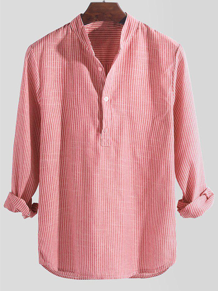 Striped Print Long Sleeve Half Button Shirt - PINK 4XL