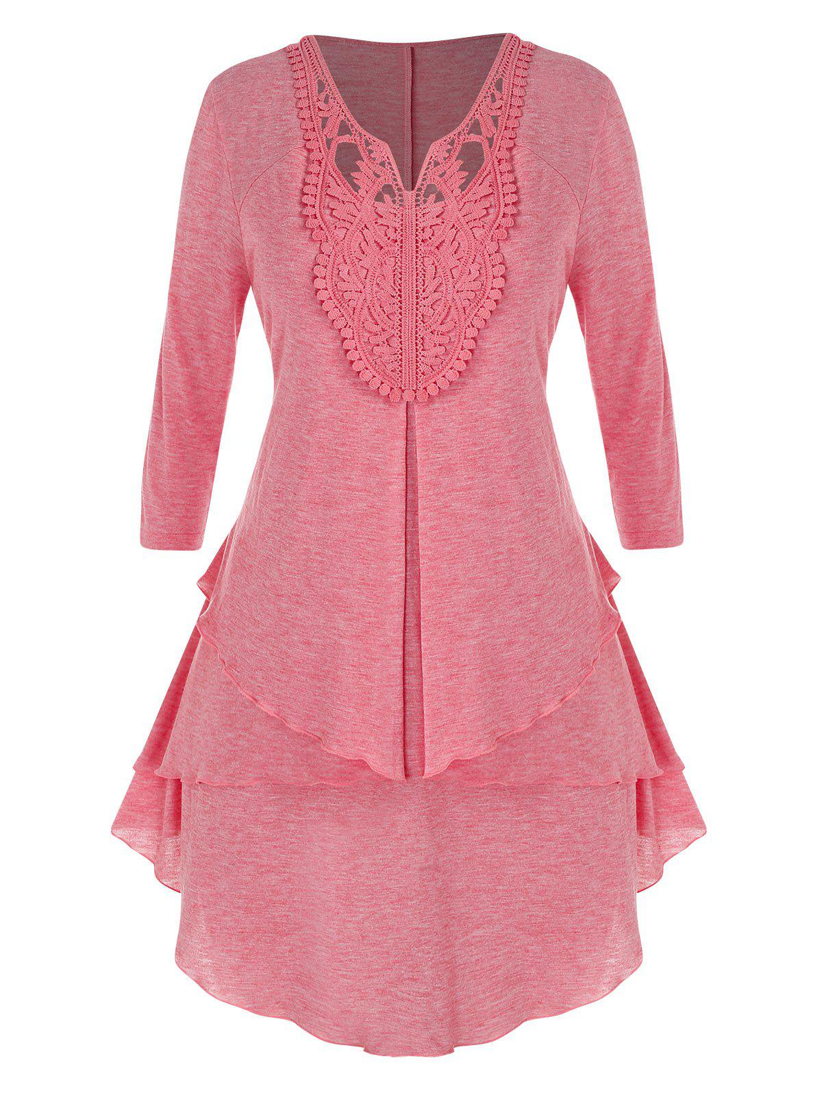 Plus Size Hollow Out Lace Tiered Tunic Top - LIGHT PINK 5X