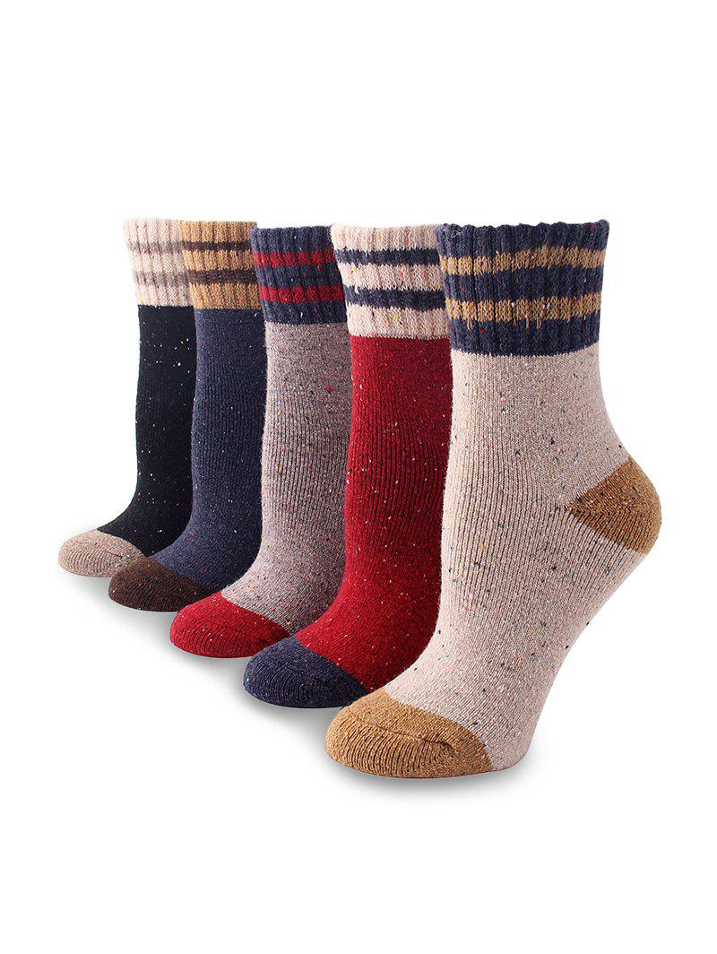 5Pairs Confetti Striped Pattern Socks Set - multicolor A