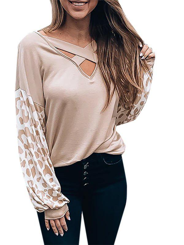 Leopard Drop Shoulder Criss Cross V Neck Sweatshirt - CHAMPAGNE S