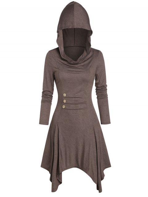 Hooded Button Ruched Handkerchief Dress