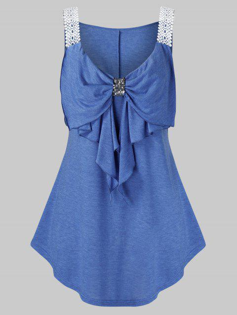 Plus Size Guipure Straps Sequined Bowknot Tank Top