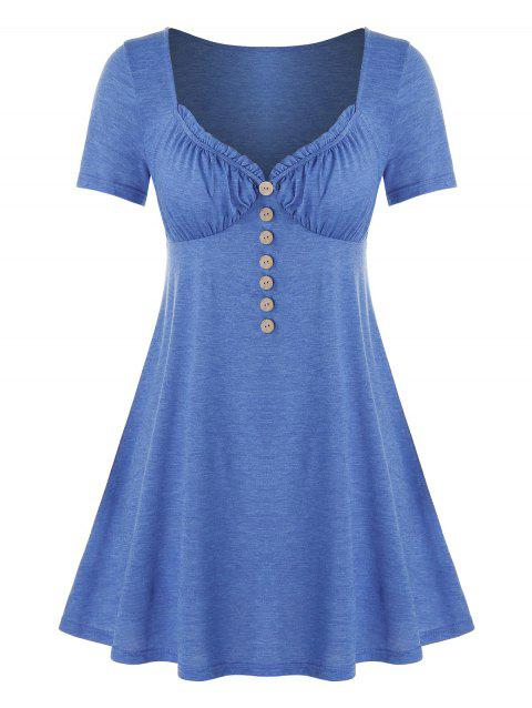 Plus Size Mock Button Frilled Short Sleeve Tunic Tee