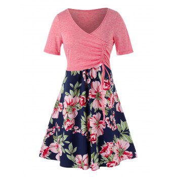 Plus Size Flower Printed Dress with Cinched Top